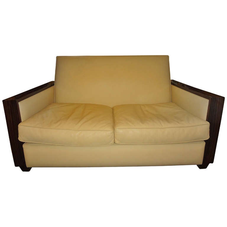 French Art Deco Sofa Upholstered In Leather Circa 1930 For Sale At 1stdibs