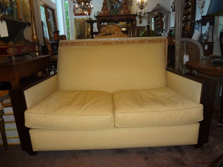 Jules Leleu Style French Art Deco Sofa Upholstered in Leather In Good Condition For Sale In Houston, TX
