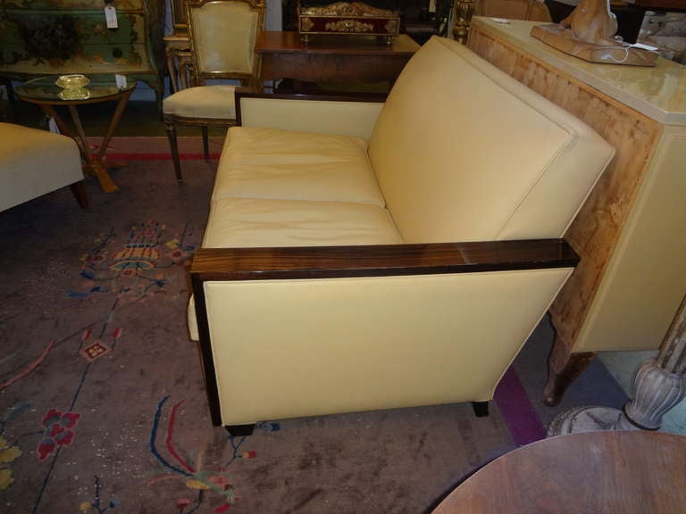 Jules Leleu Style French Art Deco Sofa Upholstered in Leather For Sale 2