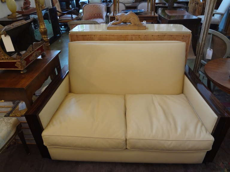 French art deco sofa upholstered in leather circa 1930 for sale at 1stdibs - Canape art deco cuir ...