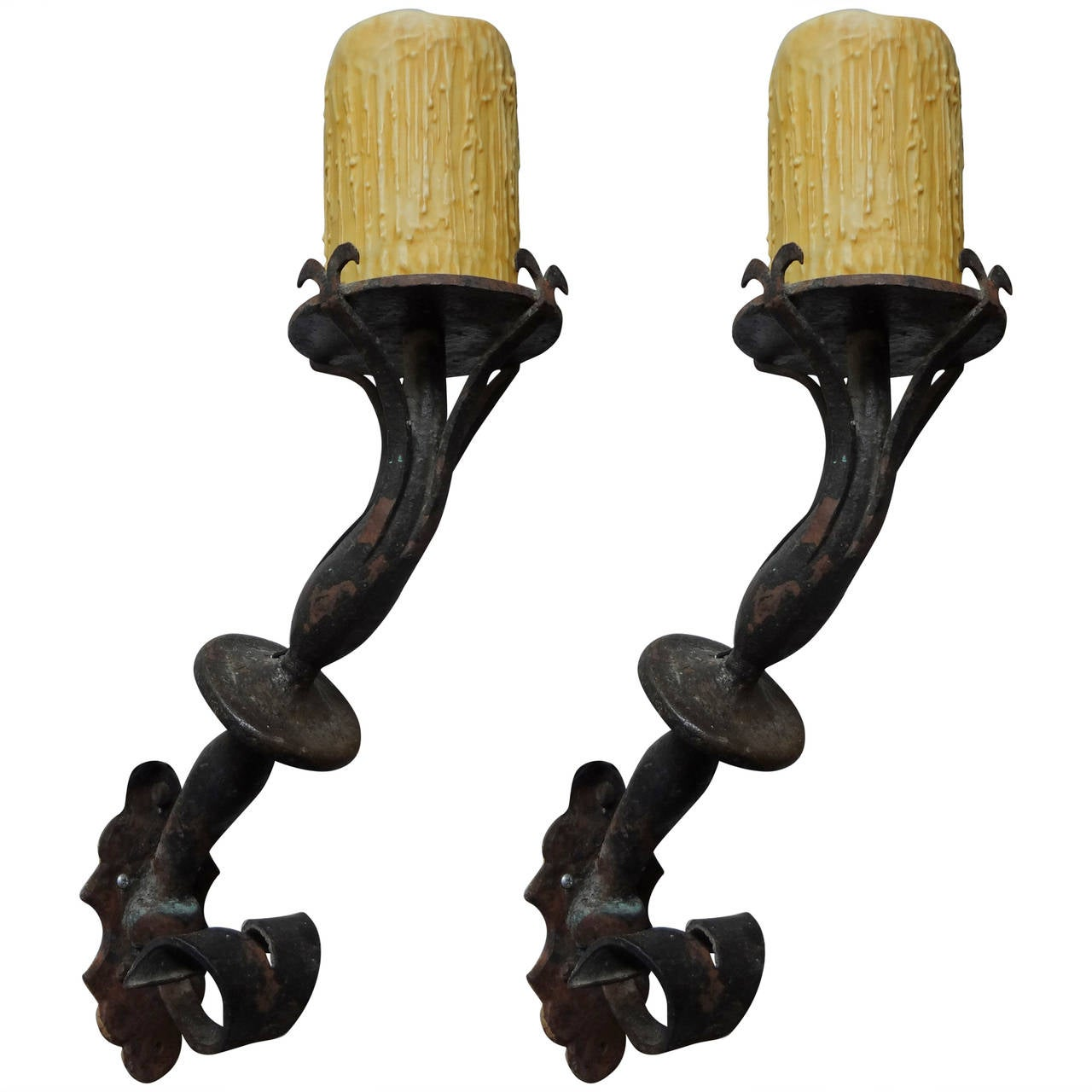 Pair of Antique French Wrought Iron Torch Sconces