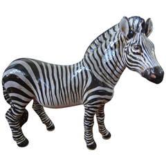 Italian Glazed Terracotta Zebra Signed Manlio