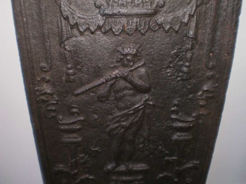 Louis XIV 18th Century French Cast Iron Fireback For Sale