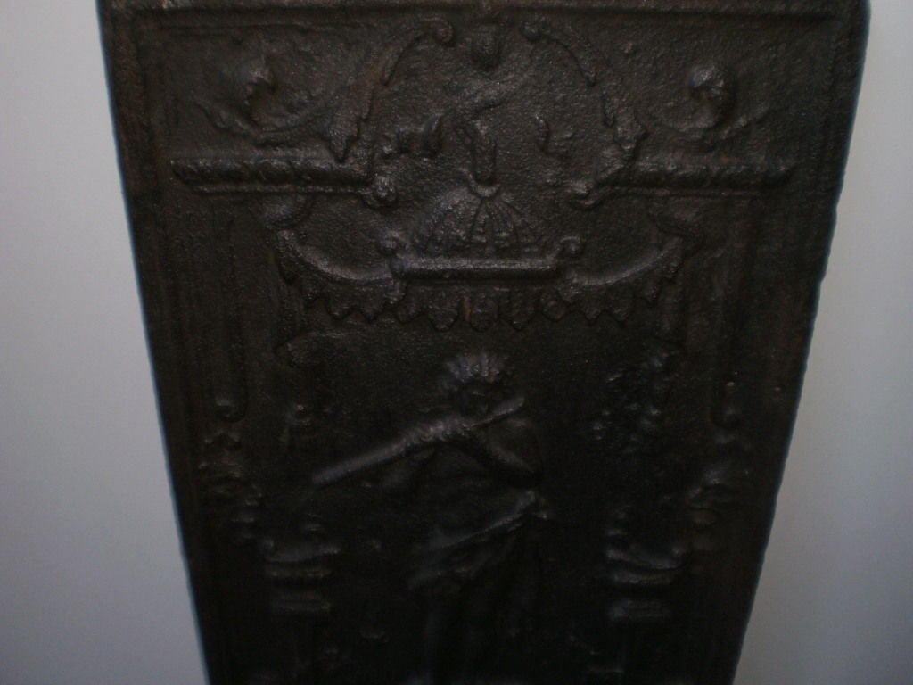 18th Century French Cast Iron Fireback In Good Condition For Sale In Houston, TX