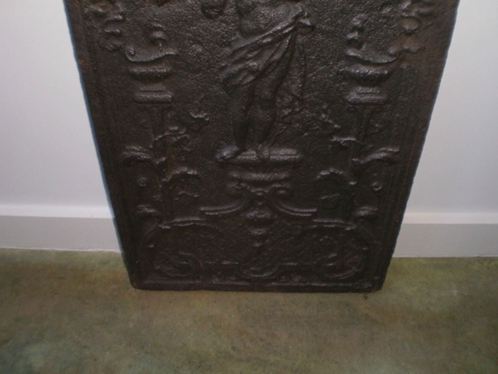 18th Century and Earlier 18th Century French Cast Iron Fireback For Sale