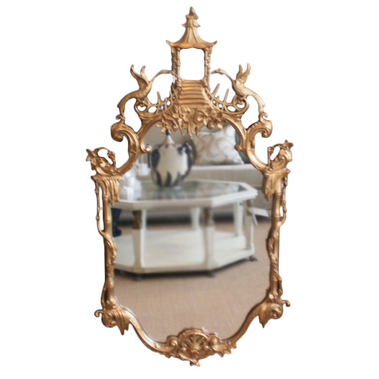 Italian chinese chippendale style gilt mirror at 1stdibs for Asian style mirror