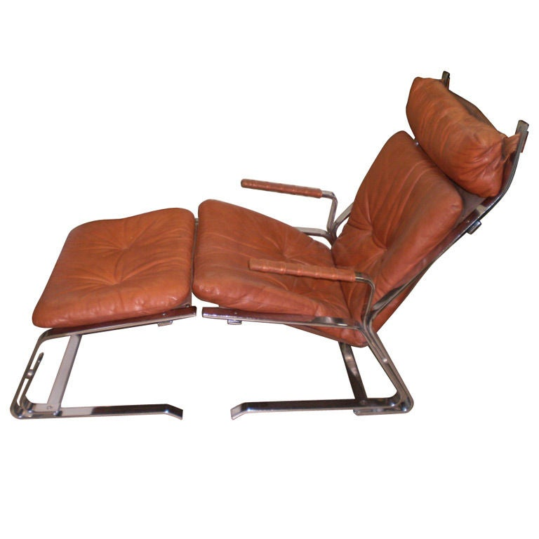 saporetti chrome and leather chair with ottoman at 1stdibs