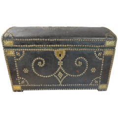 18th Century Spanish Leather Coffer