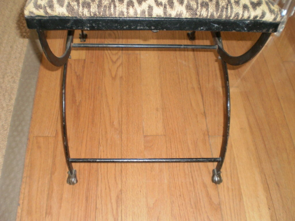 Italian Neoclassical Iron and Bronze Lyre-Back Chair In Good Condition For Sale In Houston, TX