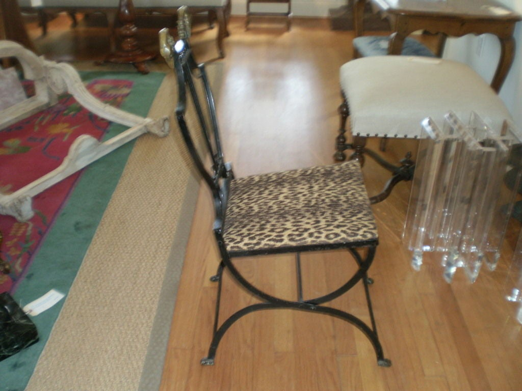 Mid-20th Century Italian Neoclassical Iron and Bronze Lyre-Back Chair For Sale