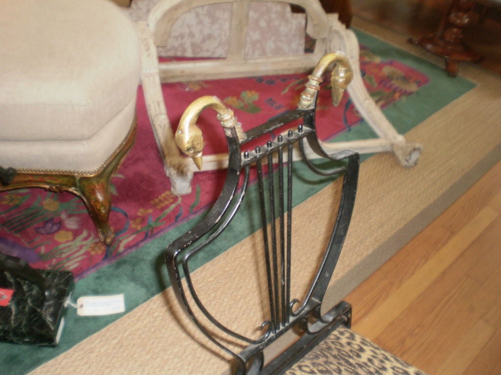 Italian Neoclassical Iron and Bronze Lyre-Back Chair For Sale 1