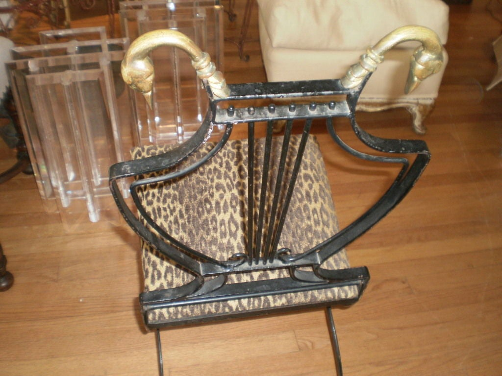 Italian Neoclassical Iron and Bronze Lyre-Back Chair For Sale 2