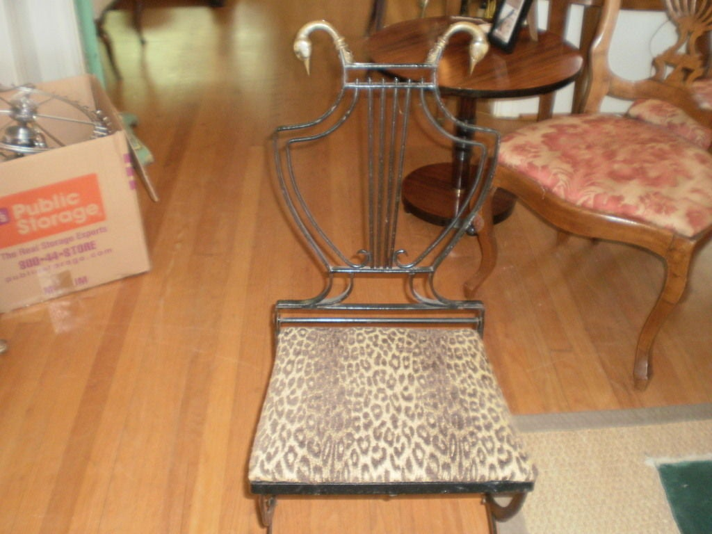 Italian Neoclassical Iron and Bronze Lyre-Back Chair For Sale 3