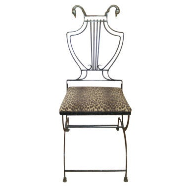 Italian Neoclassical Iron And Bronze Lyre Back Chair For Sale At 1stdibs