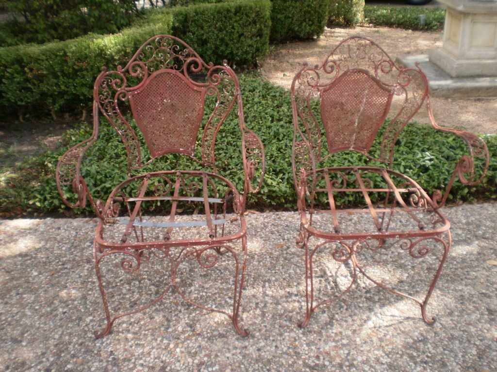 Pair of french wrought iron garden chairs at 1stdibs French metal garden furniture