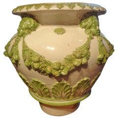Large Italian Glazed Terra Cotta Urn