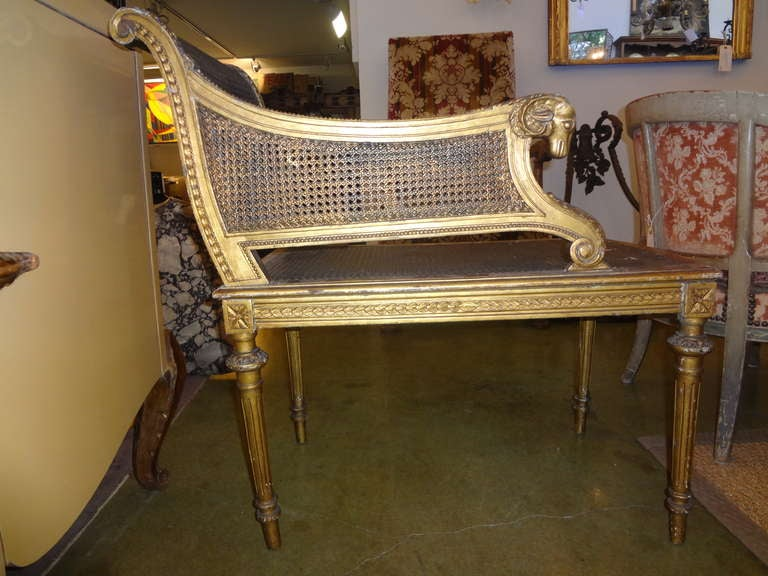 french louis xvi style gilt wood and cane stool banquette at 1stdibs. Black Bedroom Furniture Sets. Home Design Ideas
