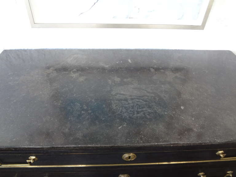 19th Century French Louis XVI Ebonized 3 Drawer Commode With Marble Top For Sale 1