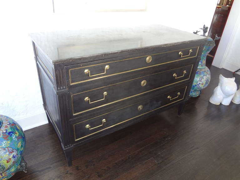19th Century French Louis XVI Ebonized 3 Drawer Commode With Marble Top image 6