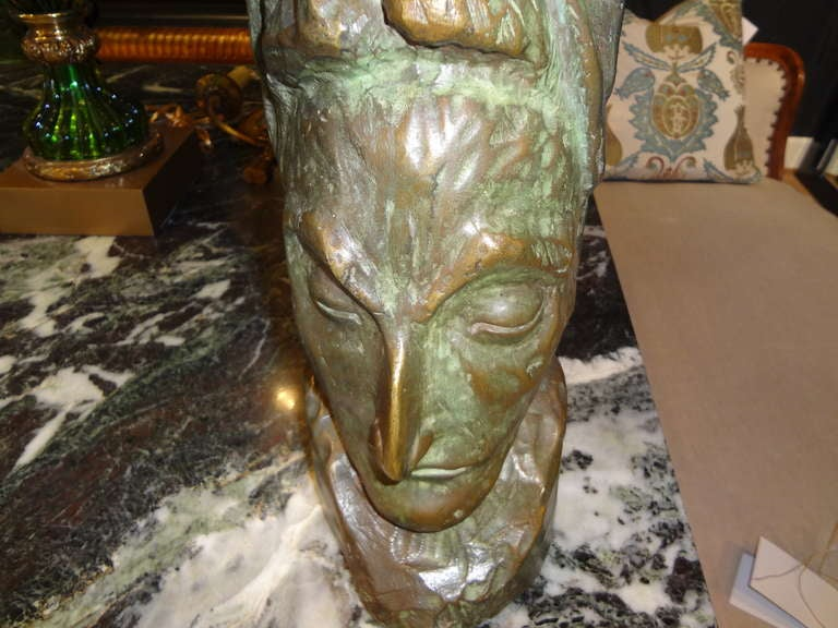 Mid-Century Modern Bronze Bust by J.D. Murillo In Good Condition For Sale In Houston, TX