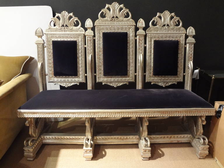 19th Century Venetian Silver Gilt Grotto Seahorse Bench For Sale 3