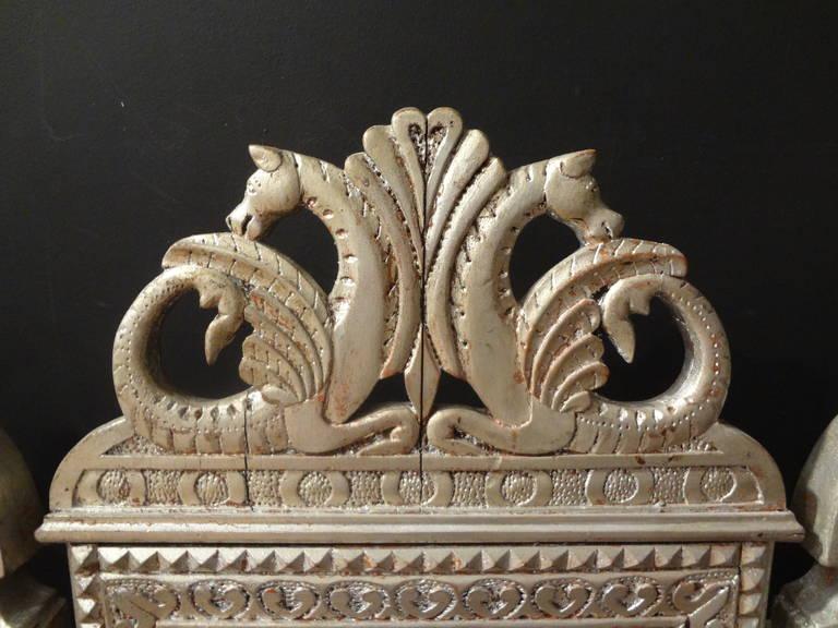 Baroque 19th Century Venetian Silver Gilt Grotto Seahorse Bench For Sale