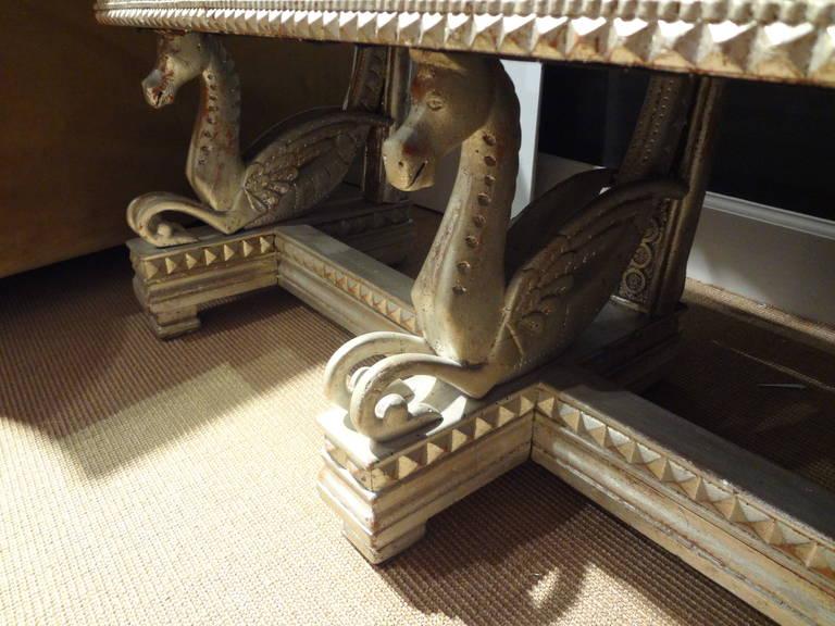 Italian 19th Century Venetian Silver Gilt Grotto Seahorse Bench For Sale