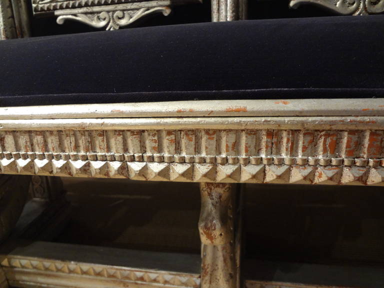 19th Century Venetian Silver Gilt Grotto Seahorse Bench In Good Condition For Sale In Houston, TX