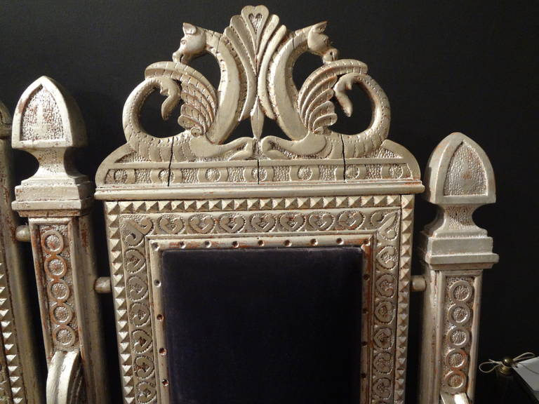 Fabric 19th Century Venetian Silver Gilt Grotto Seahorse Bench For Sale