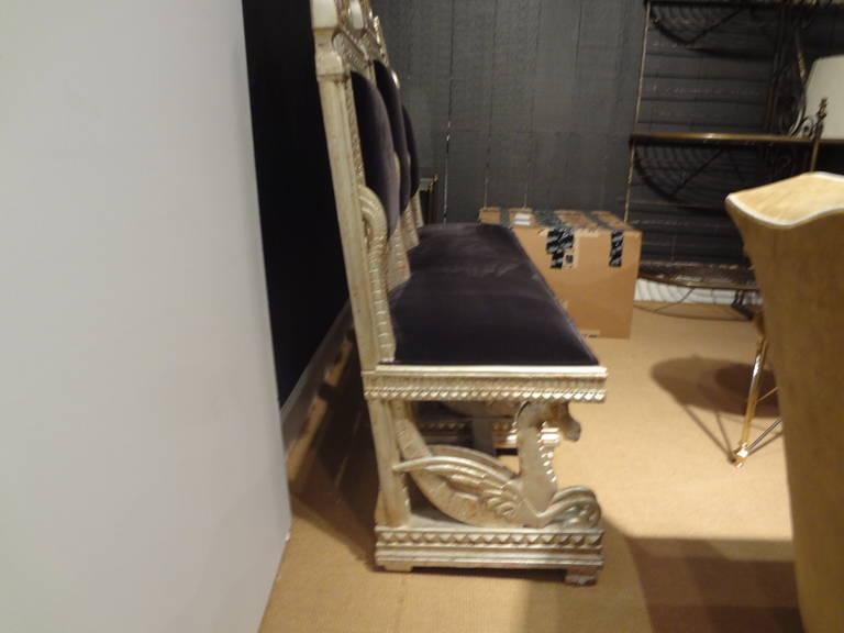 19th Century Venetian Silver Gilt Grotto Seahorse Bench For Sale 1