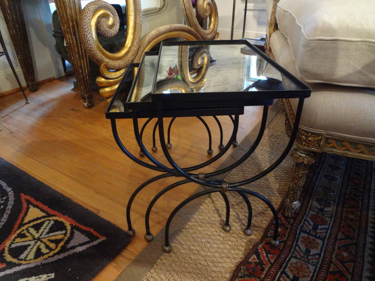 French Modernist Royere Style Iron and Brass Nesting Tables with Mirrored Tops 4