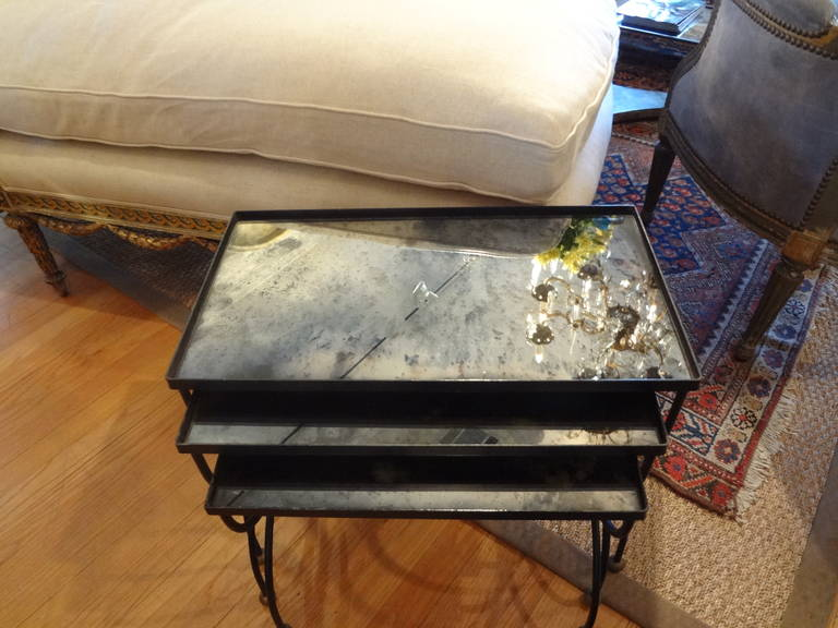 French Modernist Royere Style Iron and Brass Nesting Tables with Mirrored Tops 5
