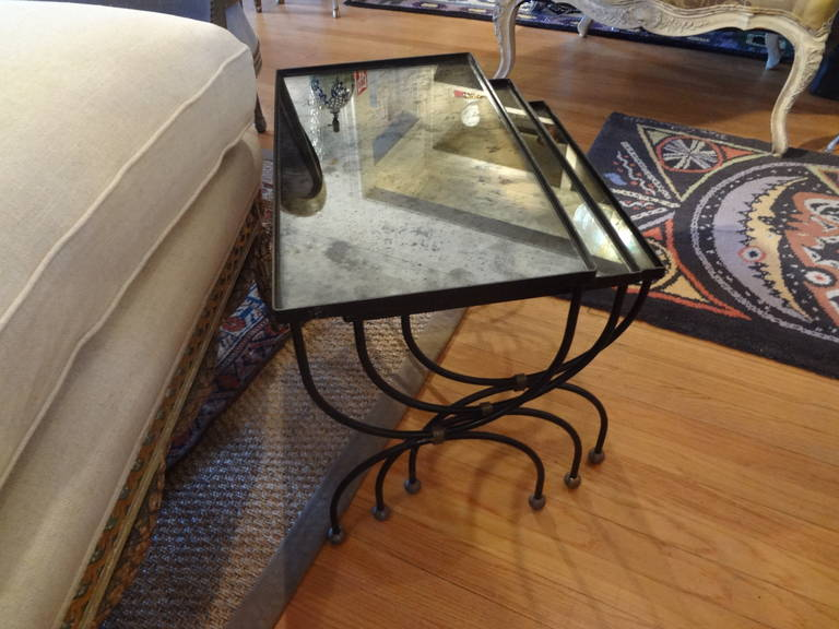 French Modernist Royere Style Iron and Brass Nesting Tables with Mirrored Tops 6