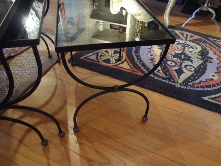 French Modernist Royere Style Iron and Brass Nesting Tables with Mirrored Tops 7