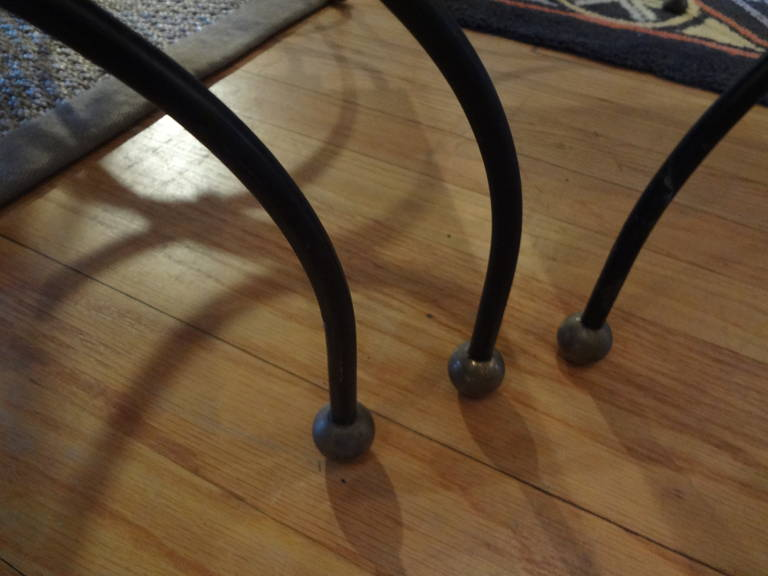 French Modernist Royere Style Iron and Brass Nesting Tables with Mirrored Tops 8