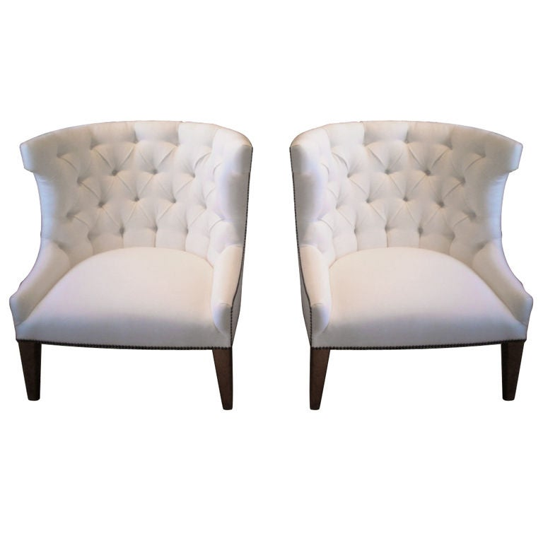 Pair Of Barrel Back Club Chairs In White Linen At 1stdibs