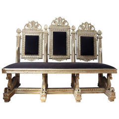 19th Century Venetian Silver Gilt Grotto Seahorse Bench