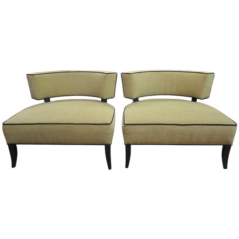 Pair Of Mid Century Modern James Mont Style Lounge Chairs