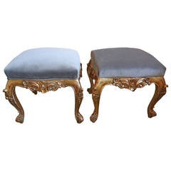 Pair of French Louis XV Style Giltwood Stools or Ottomans