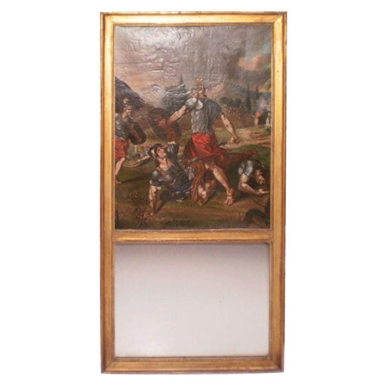 Unusual 18th Century French Louis XVI Trumeau Mirror