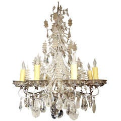 French Baguès Eight-Light Beaded and Crystal Chandelier
