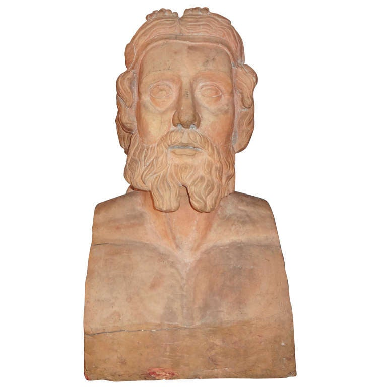 Monumental 19th Century French Terra Cotta Bust Of A Classical Greek