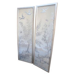 PAIR OF FRENCH AESTHETIC ETCHED MIRRORED PANELS
