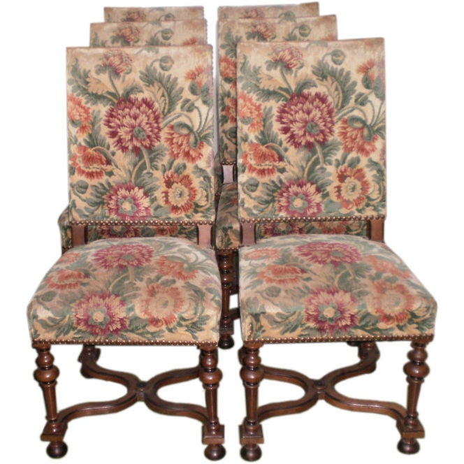 Set Of 6 French Louis XIII Style Walnut Dining Chairs Saturday Sale At 1stdibs