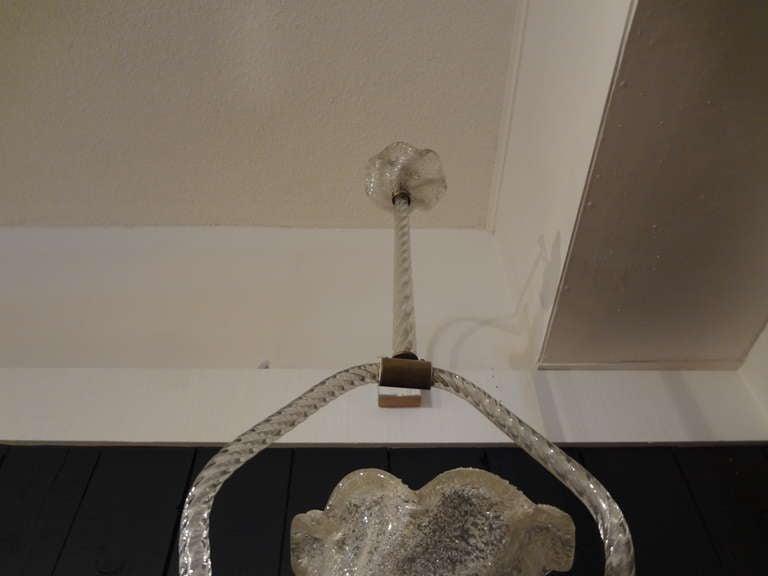 Italian Venini Style Murano Glass and Bronze Lantern For Sale