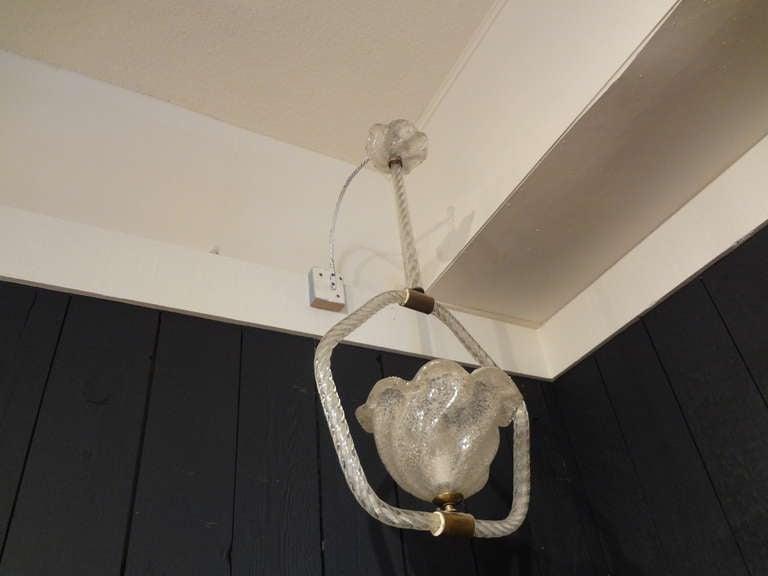 Venini Style Murano Glass and Bronze Lantern For Sale 1