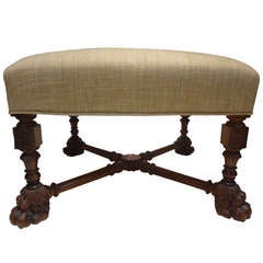 19th Century French Louis XIII Style Bench/Ottoman