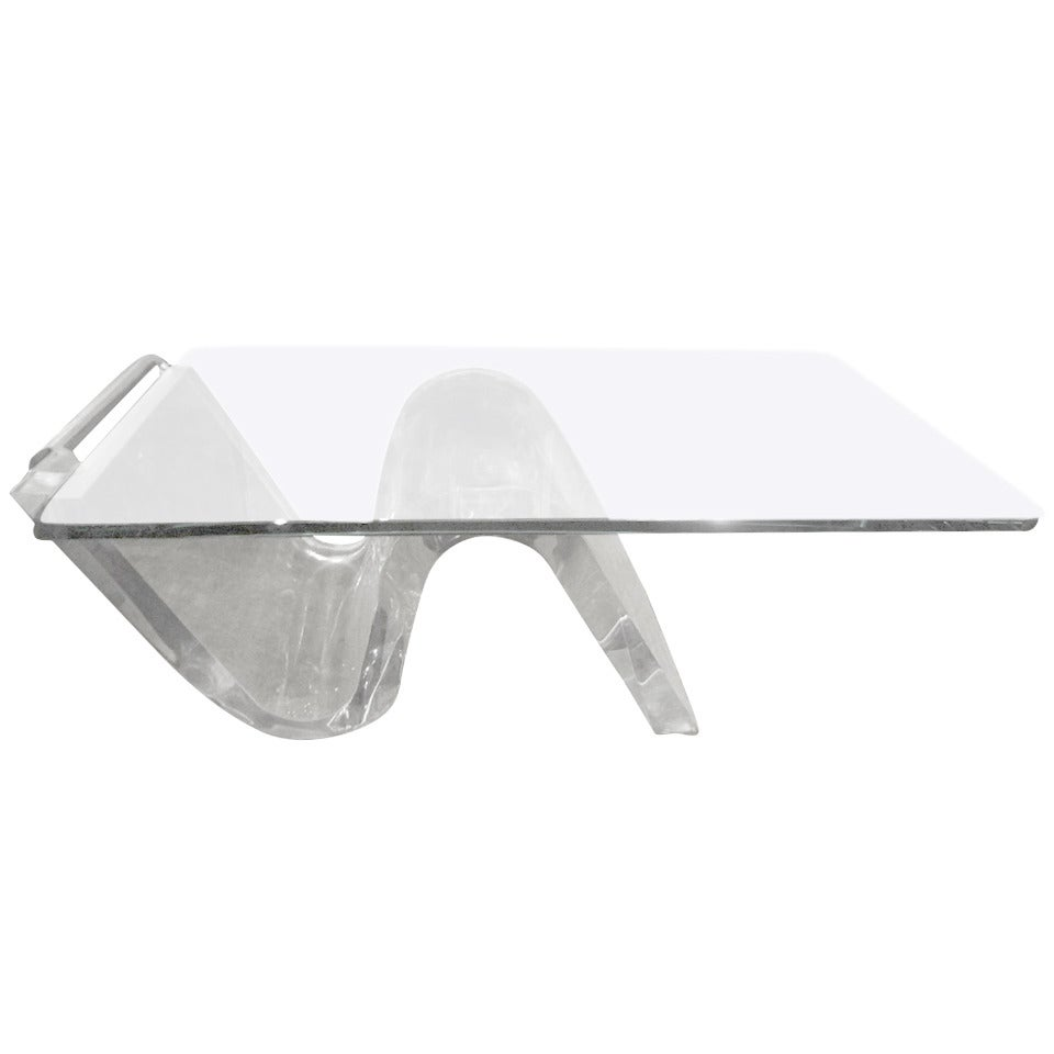 Mid Century Modern Acrylic Cantilevered Cocktail Table With Glass Top