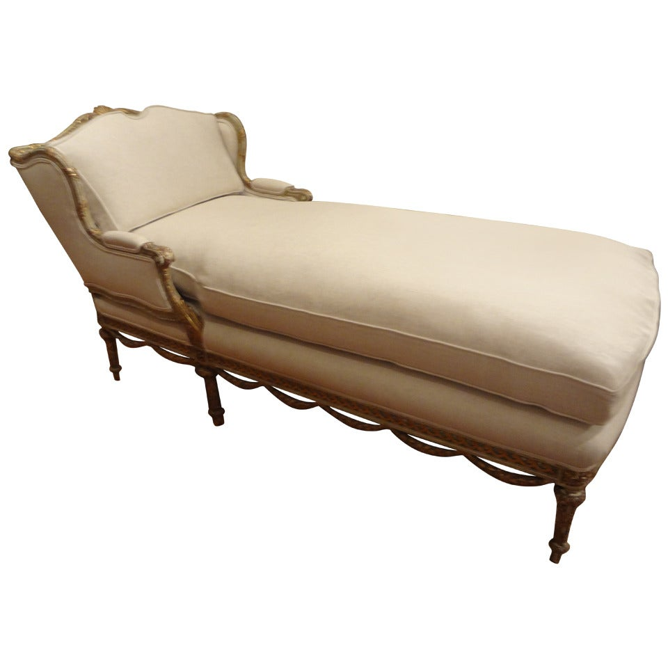 19th century italian louis xvi style gilt chaise longue at. Black Bedroom Furniture Sets. Home Design Ideas