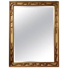 Italian Rectangular Painted And Gilt Ribbon Beveled Mirror